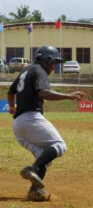 Fiji's Aisake Waqavonovono rounds the bases after hitting the first home run of the games