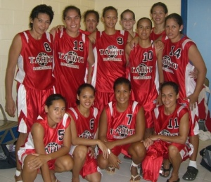 Tahitian girls manage a smile after a disappointing loss