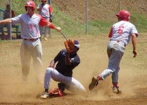 Philippe Lecouriex was called out in a close play at the plate.