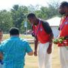 Honourable Faumuina Tiatia Liuga presents Gold Medals