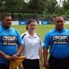 Kasey Campbell flanked by her two touch judges before the 1st Game
