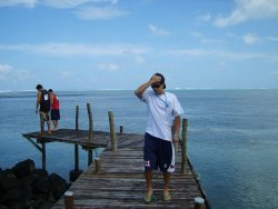 Willie poses for the camera while Seve and Andrew investigates the warm waters of Samoa