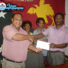 Seseve Lae, right presented with K5000 cheque by Api Leka of PNG Waterboard