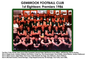 Seniors - 1986 Premiers
