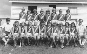 A early Everton Wolves team photo in front of the original change rooms Enoggera Memorial Park
