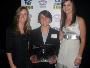 Victorian Academy and Representative Players, Alicia Eva and Nicola Stevens with Female Football Development Manager, Chyloe Kurdas