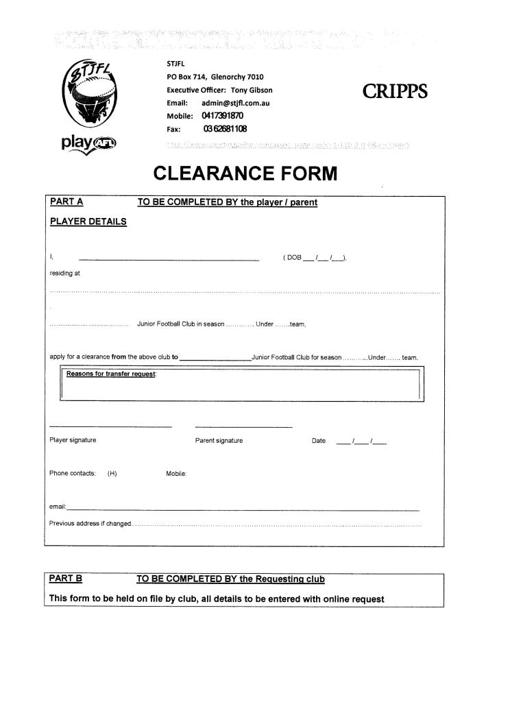 Transfer Request Forms  Glenorchy District Junior Football Club