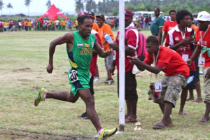 Kupsy Bisamo of Team Morobe, Gold medalist of 5000m, 10000m & Half Marathon