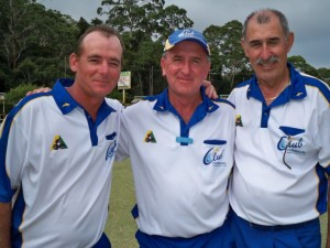 BCC Zone 15 - 2013 Major Triples Winners L to R; Adam Pinkerton, Peter Freestone and Miro Perovik (Terrigal)
