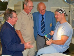 Photo L to R is; Ian Jarratt (Umina), David Lilley (Everglades) and Ray Cocking (Ettalong) with Tim Wharton, Clinical Nurse Educator