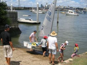Club Sabot entering the water
