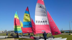 The Hobie 16s Setting Up