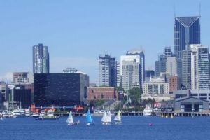 Short Course Racing at Docklands - what a background!