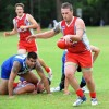 Coffs Swans player coach Jay Guthrie sends his team into attack. Photo: Leigh Jensen/Coffs Coast Advocate