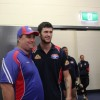 Coffs Swans stalwart Scott Morgan enjoyed some time in the rooms of his beloved Western Bulldogs with Jarrad Grant showing him around.