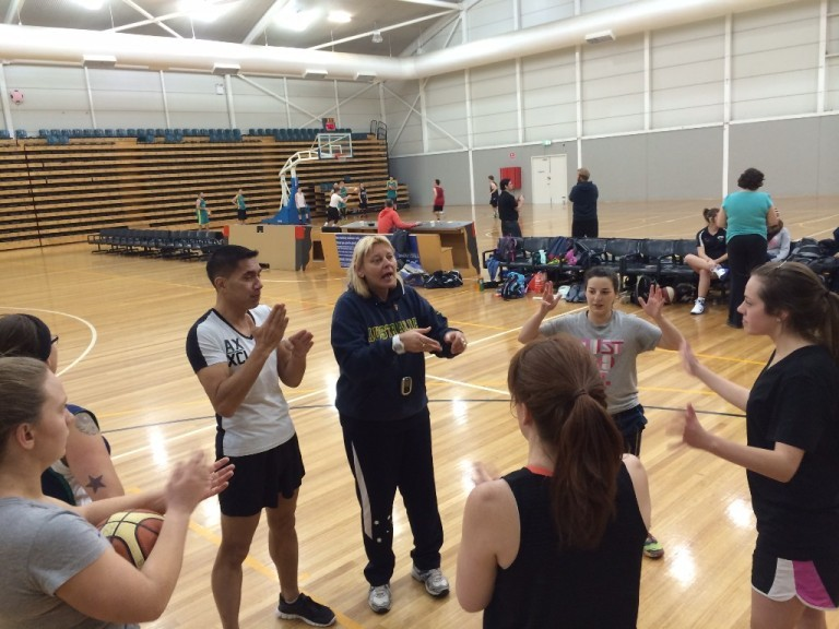 Coach Bressow explaining a defensive drill