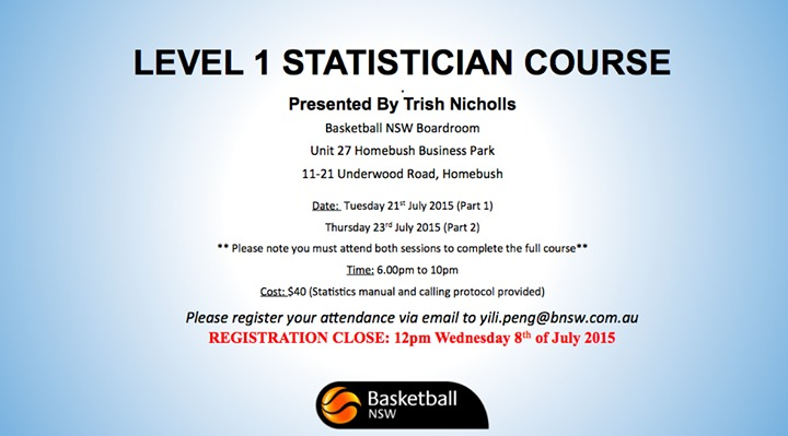 BASKETBALL NSW LEVEL ONE STATISTICIAN COURSE - City of