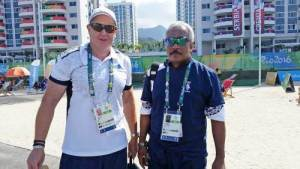 Glenn Kable (left) with his manager at the Olympic Games Village in Brazil
