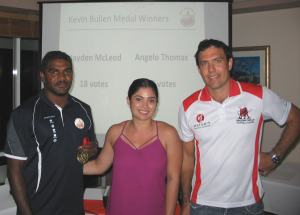 Kevin Bullen Medallists Angelo Thomas (BEFC) and Hayden McLeod (BBFC) with Kellie Bullen