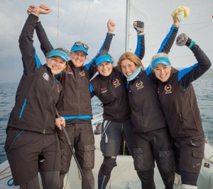Kate Lathouras (centre) Aust Women's Match Racing Team_2016 Busan Cup WIM series credit KIMWOLF