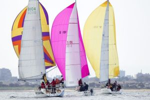BLiSS fleet under spinnaker_photo Steb Fisher