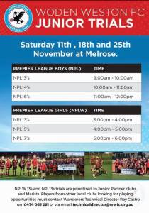 Juniors premier League Trials with Woden Weston FC dates and