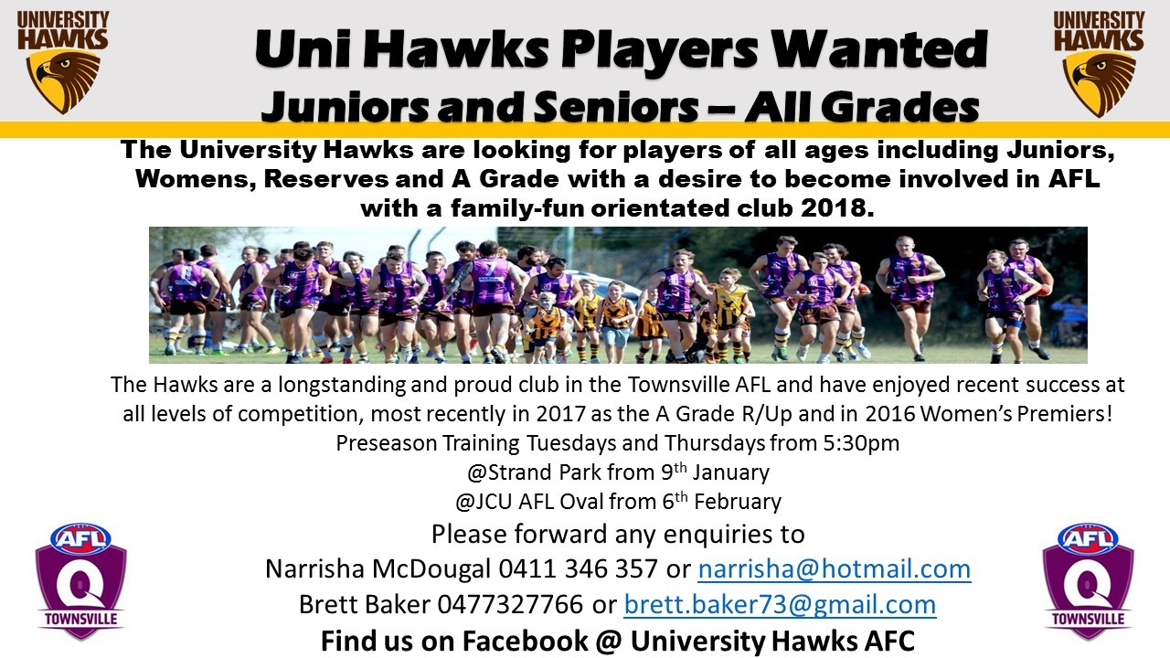 Players Wanted - Calling All Hawkies - University Hawks AFC
