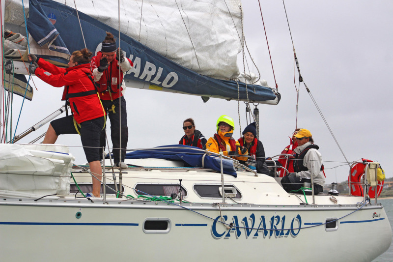 Marnie Irving at the helm of Cavarlo with her BTB graduates