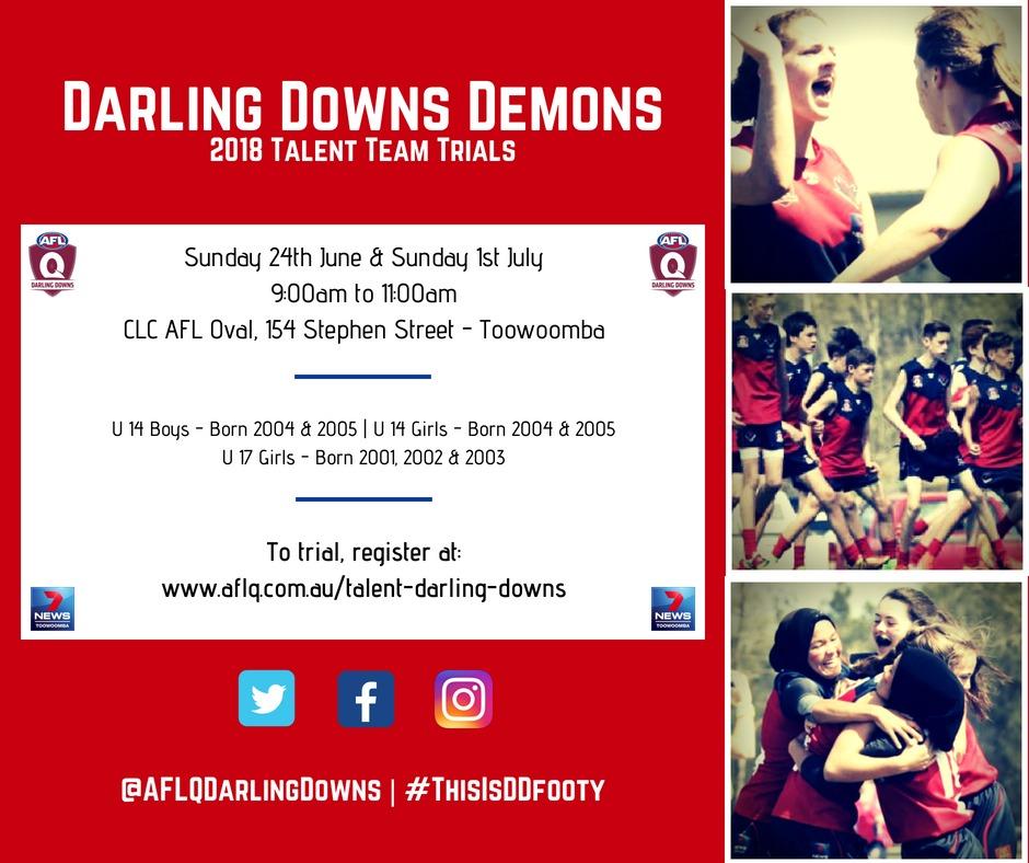 Registrations Open for Demons Trials - AFL Darling Downs