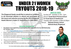 UNder 21 Women Tryouts