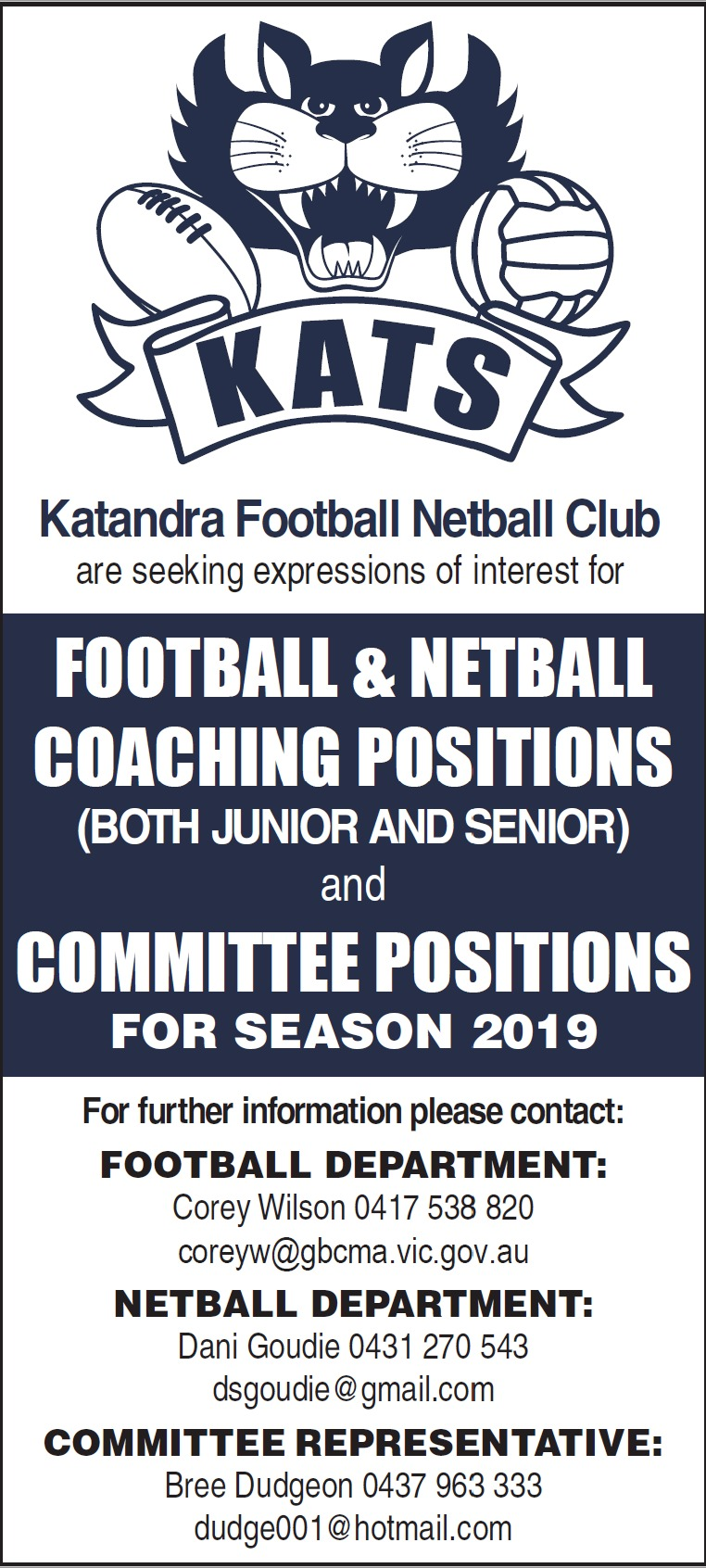 Katandra Coaching & Committee Expression of Interest